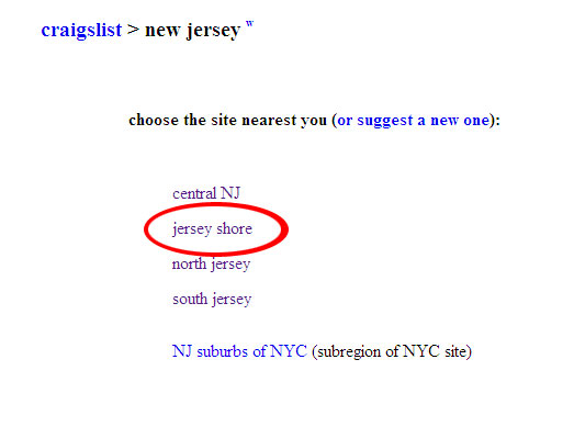 Craigslist and The Jersey Shore – News!! | Experience The ...